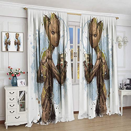 Avengers Superhero Endgame Guardians of The Galaxy Groot Ink Painting Style Polyester Curtain, Avengers Curtains for Child Bedroom Blackout Window Curtain