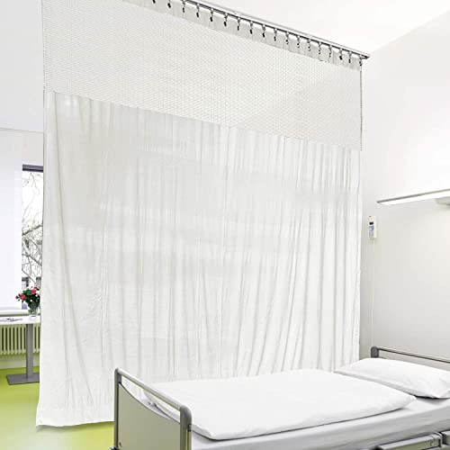 cololeaf 8ft Wide x 8.5ft Tall Medical Curtains Privacy Hospital Cubicle Curtain Nickle Grommet Hanging for Hospital Medical Clinic SPA Lab Divider Privacy Screen, in White Customizable