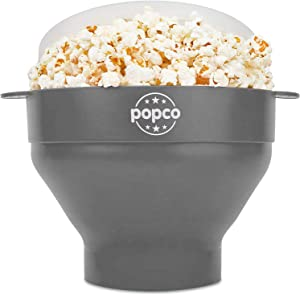 The Original Popco Silicone Microwave Popcorn Popper with Handles, Silicone Popcorn Maker, Collapsible Bowl Bpa Free and Dishwasher Safe - 15 Colors Available (Gray)