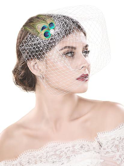 7193055557 handcess boda bridcage velo con peine pluma de pavo real accesorios corto  Colorete velo de malla