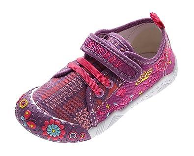 Slobby Kinder Leinen Schuhe Jungen Mädchen Stoff Hausschuhe Klettverschluss Kita Halbschuhe Gr. 25 30