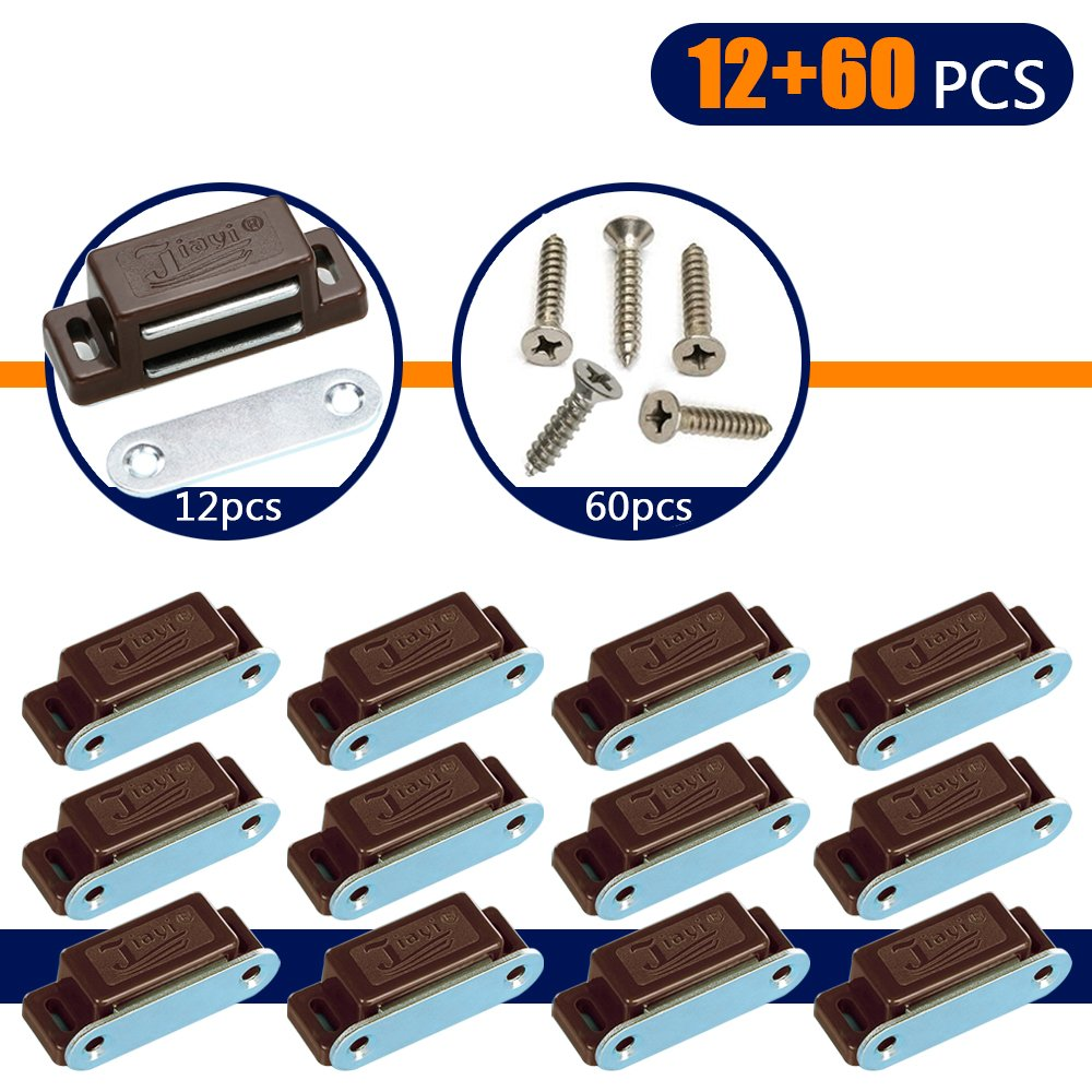 Coardor Magnetic Door Catch for Cabinet Cupboard Heavy Duty Magnet Push Catches Wardrobe Latch 12 in 1 Kit with Screws 60pcs Kitchen Small Home Furniture Drawer Brown 6kg Pull Strong
