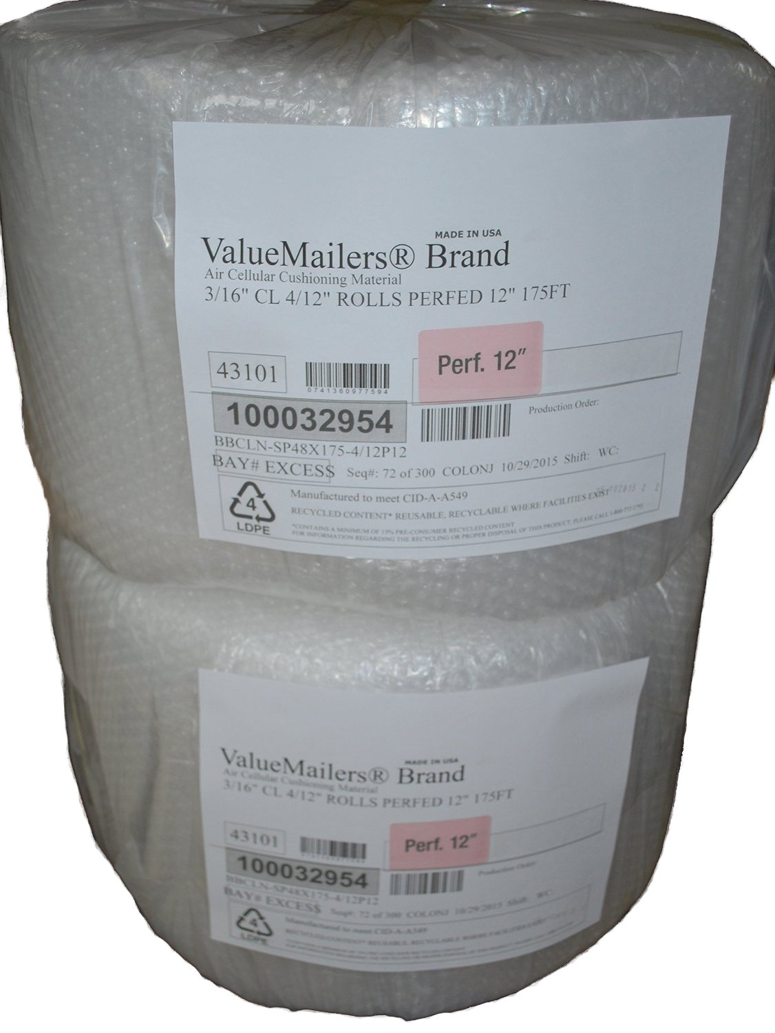 350 ft 3/16 ValueMailers Small Bubble Cushioning Wrap 12'' wide, perforated every 12'', 350 total sq ft By ValueMailers