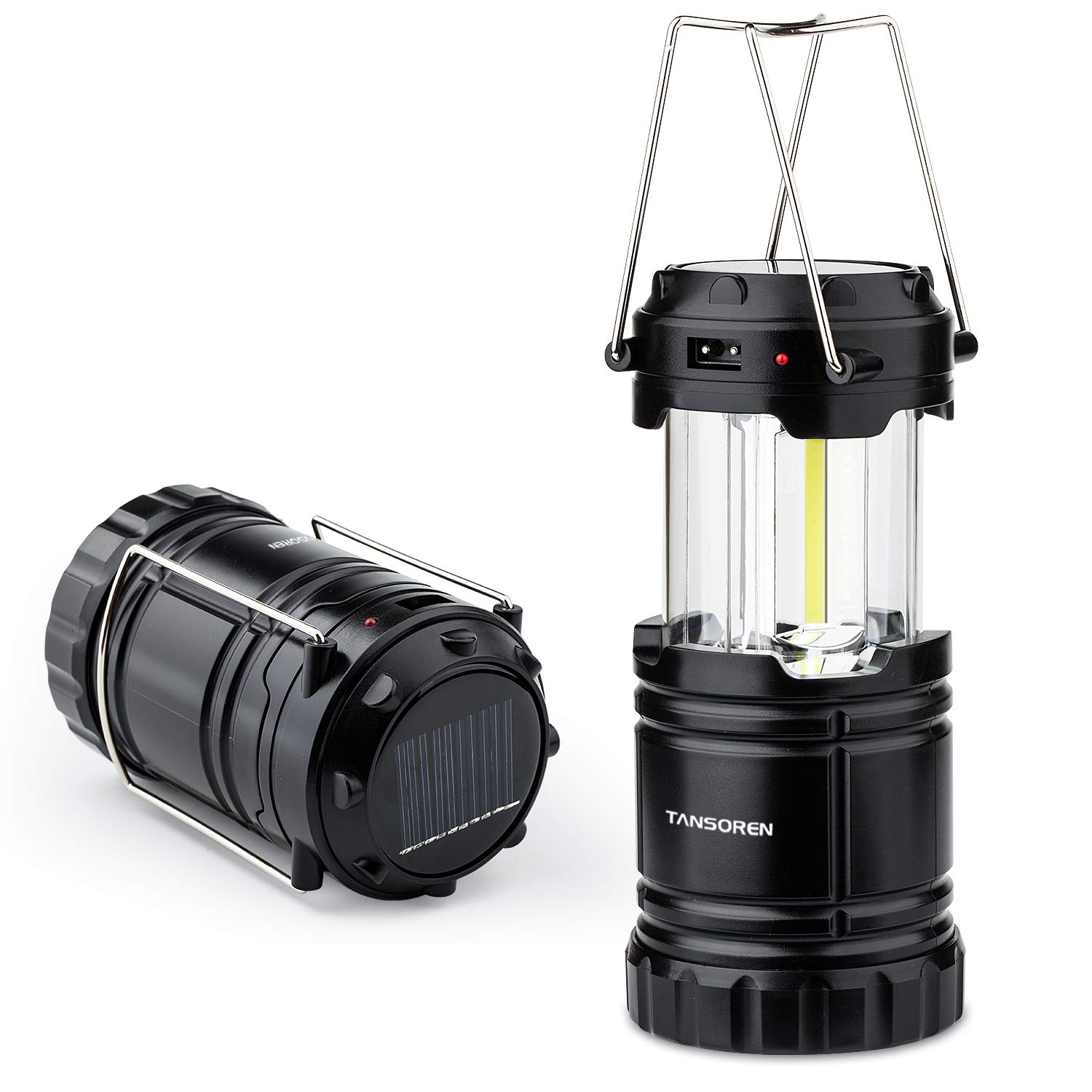 2 Pack Solar USB Rechargeable 3 AA Power Brightest COB LED Camping Lantern with Magnetic Base, Built-in Power Bank Compati Android Charge, Waterproof Collapsible Emergency LED Light 【2018 UPGRADED】