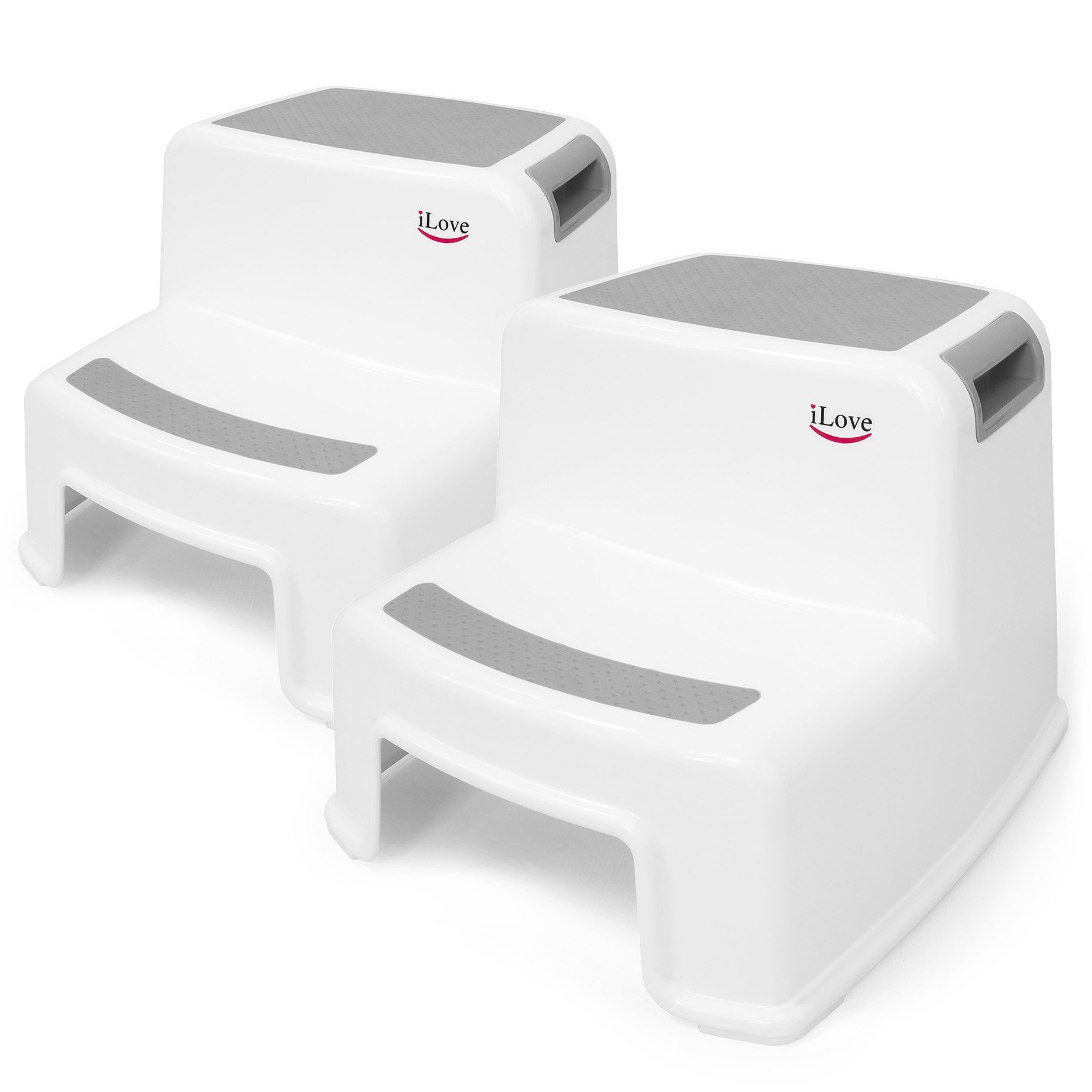 2 Step Stool for Kids (Gray 2 Pack) | Toddler Stool for Toilet Potty Training | Slip Resistant Soft Grip for Safety as Bathroom Potty Stool & Kitchen Step Stool | Dual Height & Wide Two Step by iLove