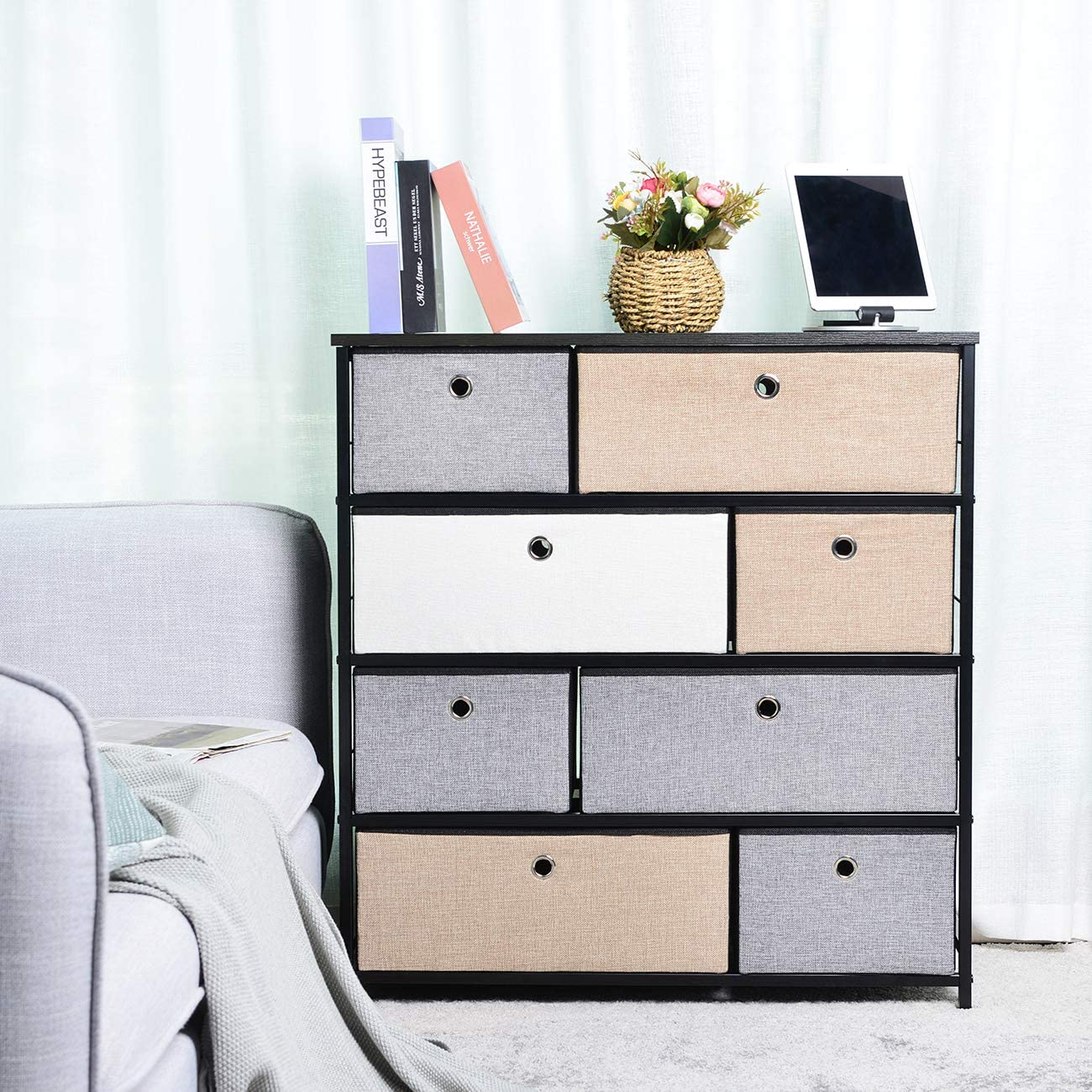 Extra Wide Fabric Storage Organizer 3 Mixed Colors Clothes Drawer Dresser with Sturdy Steel Frame, Wooden Tabletop, Easy Pull Fabric Bins Organizer Unit for Bedroom Hallway Entryway Closet-8Drawers