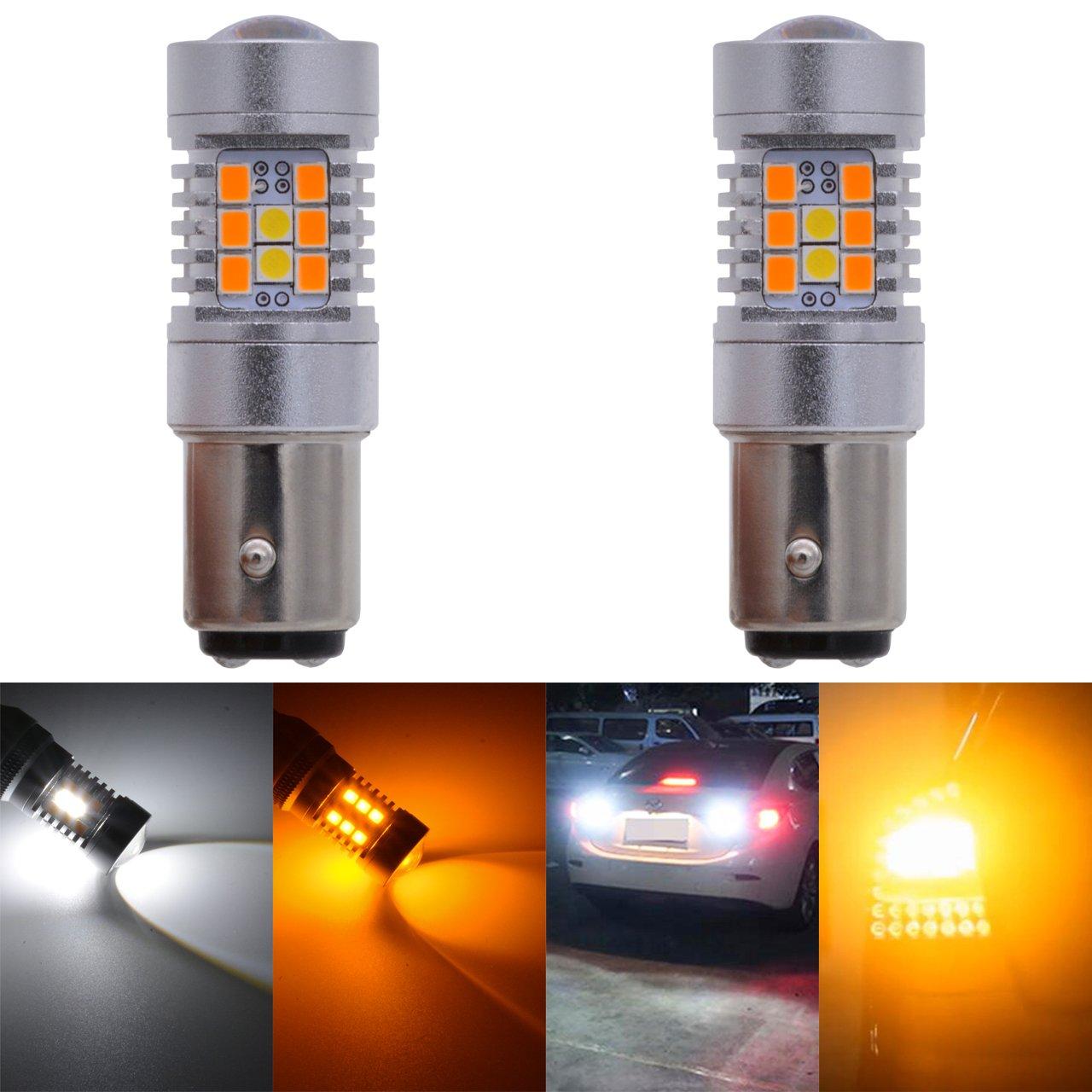 KaTur 7528 1157 BAY15D 1016 1034 Extremely Bright Amber/White Dual Color Switchback Turn Signal LED Light Bulbs 2835 21SMD Lens Brake LED Light 10.5W DC 12V 6500K (Pack of 2)