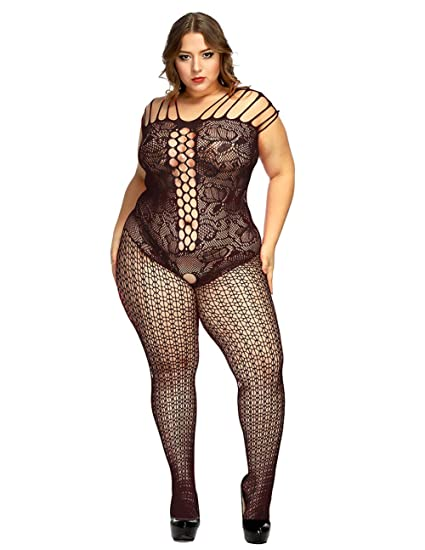 43afbb13807 Amazon.com  Curbigals Crotchless Bodystocking Plus Size Open Crotch Teddy  Lingerie for Women  Clothing