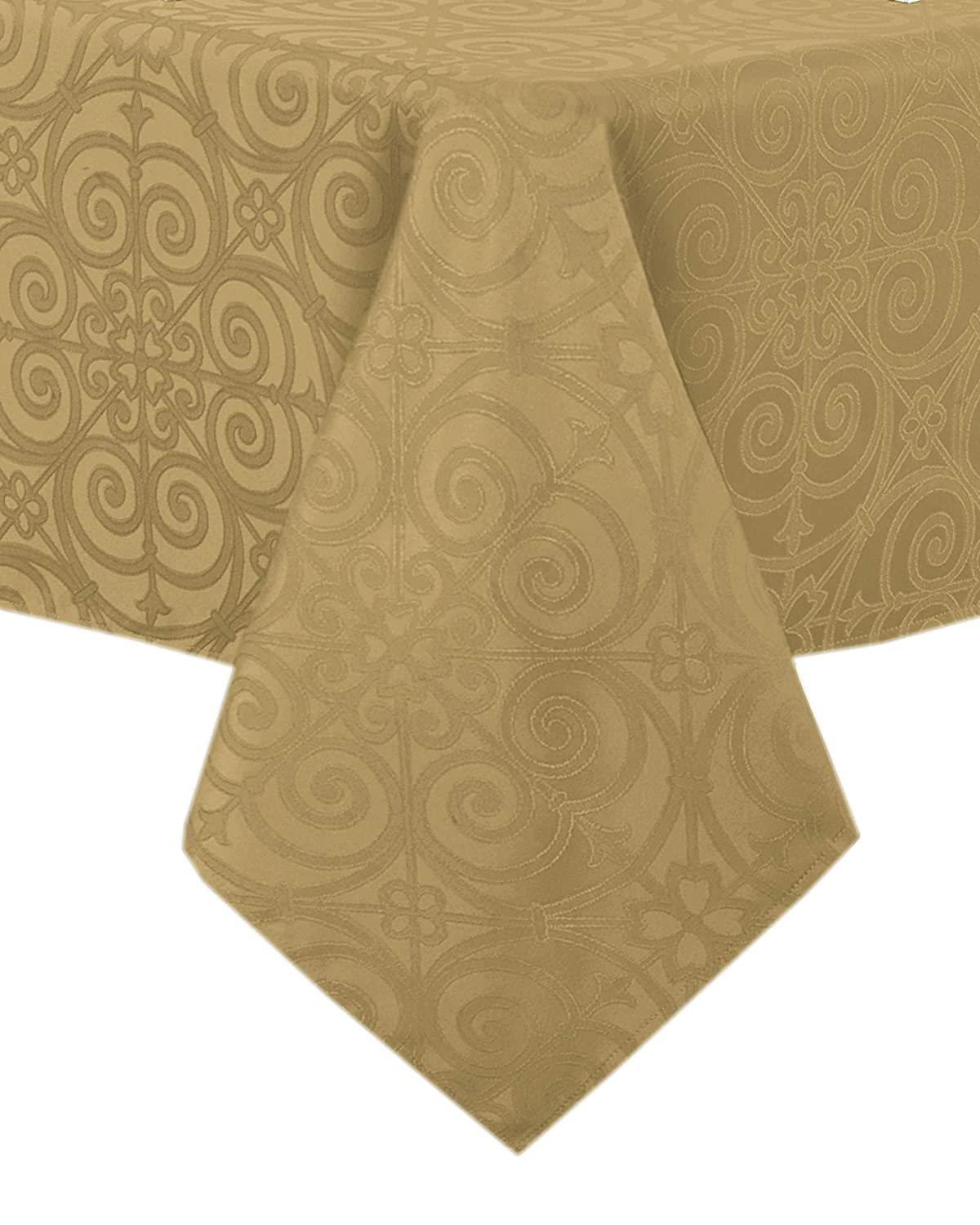 Newbridge Ironworks Scroll Damask Holiday, Thanksgiving and Christmas Fabric Tablecloth, Contemporary Damask Soil Resistant, No Iron Tablecloth, 60 Inch x 84 Inch Oblong/Rectangle, Gold
