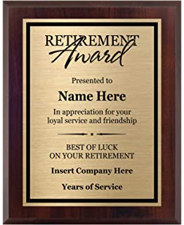 Mahogany Piano Wood Board Customized Retirement Plaque 8x10 Customize Now! Personalized Award for Employees