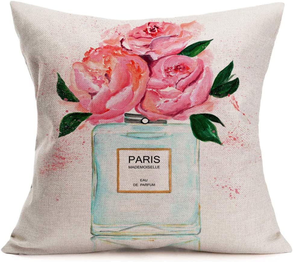 Fukeen Rose Flower Pillow Cover Cotton Linen Paris Mademoiselle Perfume Square Decorative Throw Pillow Cushion Cases for Paris Wedding Home Bedroom Decor Pillowcase 18 x 18 Inch
