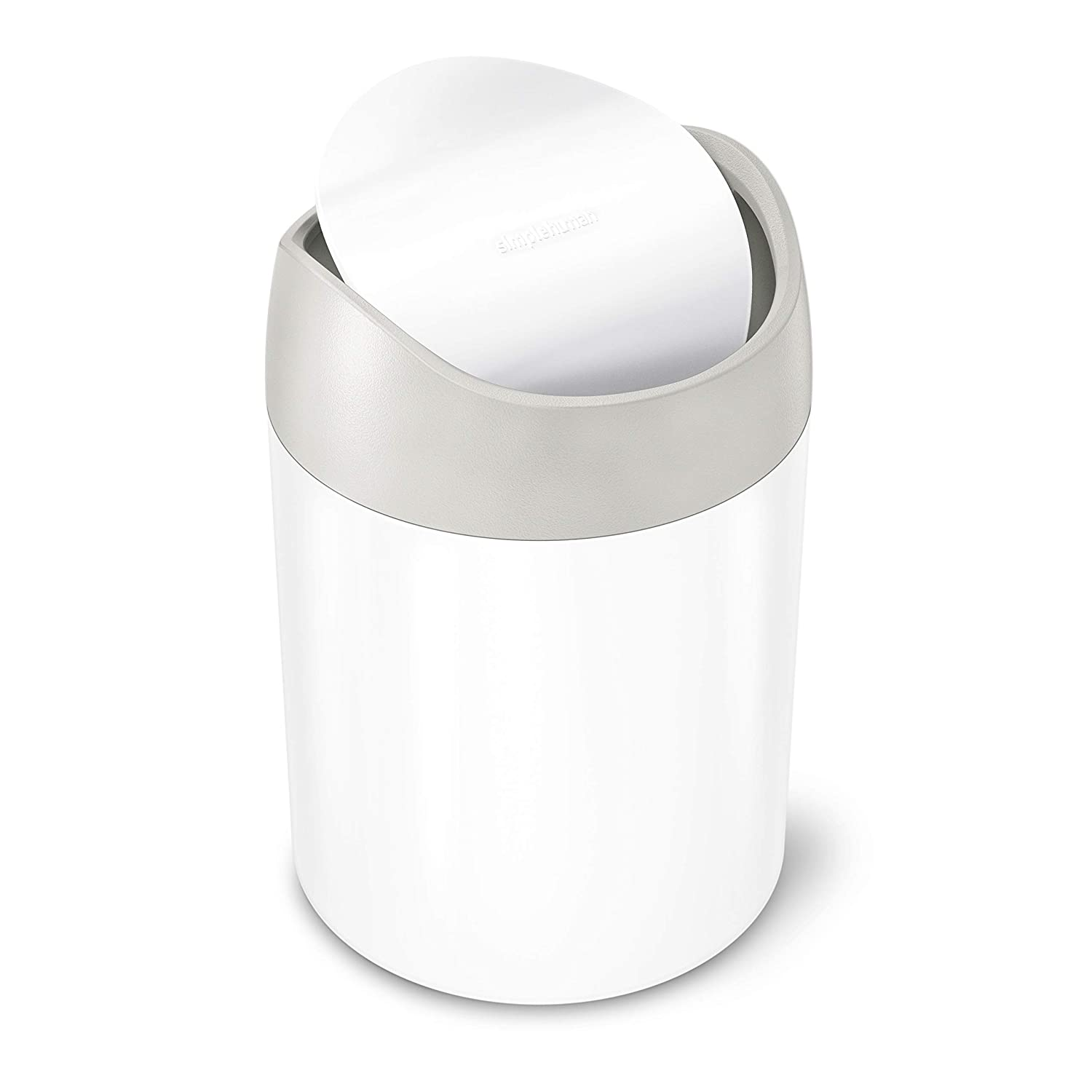 simplehuman 1.5 Litre countertop Trash can, White Stainless Steel