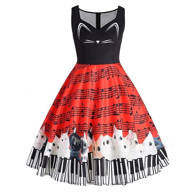 Vestidos de Fiesta,Logobeing Mujeres Gato Nota Musical Impresión Sin Mangas Vestido de Fiesta Vintage