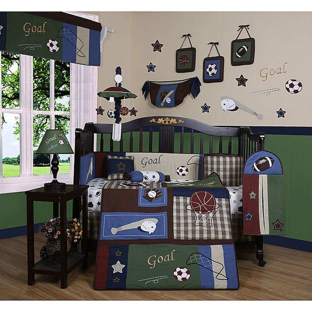36 inches wide x 45 inches long, 13-piece Crib Bedding Set, Set Includes A Quilt, Two Valances, Skirt, Crib Sheet, Bumper, Diaper Stacker, Toy Bag, Two Pillows And Three Wall Hangings.
