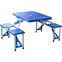 Outsunny Folding Picnic Table Chair Set Junior Outdoor Seating Portable Bench Blue
