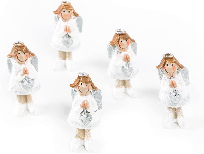 Logbuch-Verlag - Figura de ángel de la Guarda con Amuleto de la Suerte en Plata y Blanco, Regalo para Invitados, Bautizo, comunión, confirmación, niña, niño, decoración de Navidad, 5 Unidades