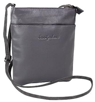 e274315a1e604 Jennifer Jones Taschen Damen 100% Leder Damentasche Handtasche  Schultertasche Umhängetasche Tasche klein Crossbody Bag grau