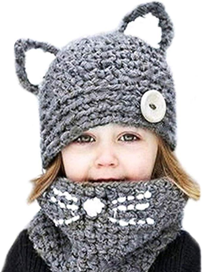 Kids Winter Hats Plush Warm Animal Pom Pom Ear Scarf Polyester Comfort Christmas