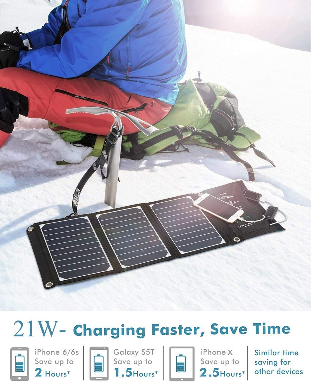 WISSBLUE Solar Panel Charger 21W//60W Dual USB 4.2A Fast Solar Charger Portable Camping Travel Charger,Hiking,Hurricane for All 5V Devices iPhone iPad Samsung Kindle etc. Emergency Backup