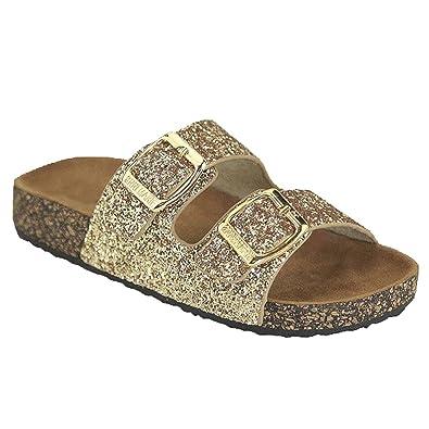 1270bf671823 Open Toe Buckle 2 Strap Thong Slide Sandals Girl (Toddler Little Kid)  Glitter