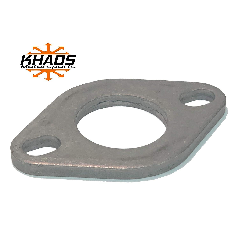 1.75 1-3//4 Universal Mild Steel Flange Exhaust Pipe 2 bolt oval Cat Back Header Khaos Motorsports