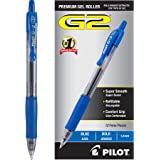 PILOT G2 Premium Refillable & Retractable Rolling Ball Gel Pens, Bold Point, Blue Ink, 12-Pack (31257)