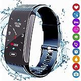 Fitness Tracker, Activity Tracker Pulsera Inteligente Reloj Deportivo con Podómetro IP67 Monitor de Frecuencia Cardíaca a Prueba de Agua Compatible con Android iPhone para Hombres Mujeres Niños