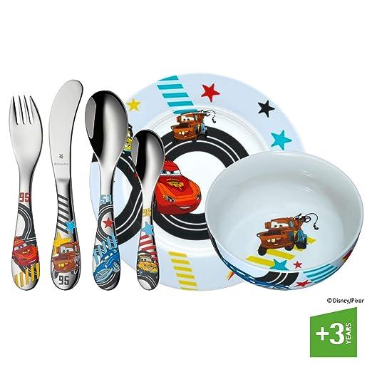 WMF Disney Cars 2 - Vajilla para niños 6 piezas, incluye plato, cuenco y cubertería (tenedor, cuchillo de mesa, cuchara y cuchara pequeña) (WMF Kids ...