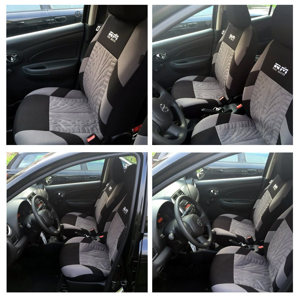 AUTOYOUTH Tire Track Detail Front Bucket Car Seat Covers Interior Accessories Universal Fit