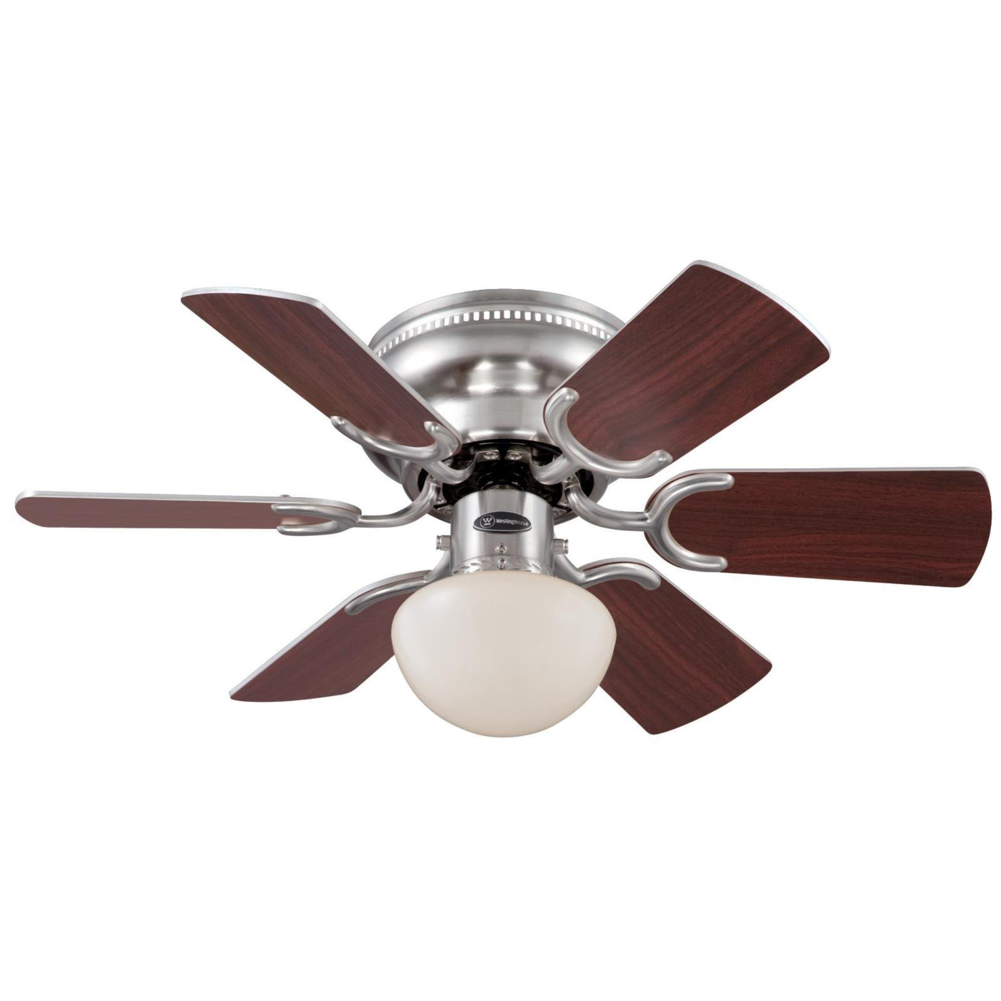 Westinghouse 7213300 Traditional Petite 30 inch Brushed Nickel Indoor Ceiling Fan, Light Kit with Opal Mushroom Glass