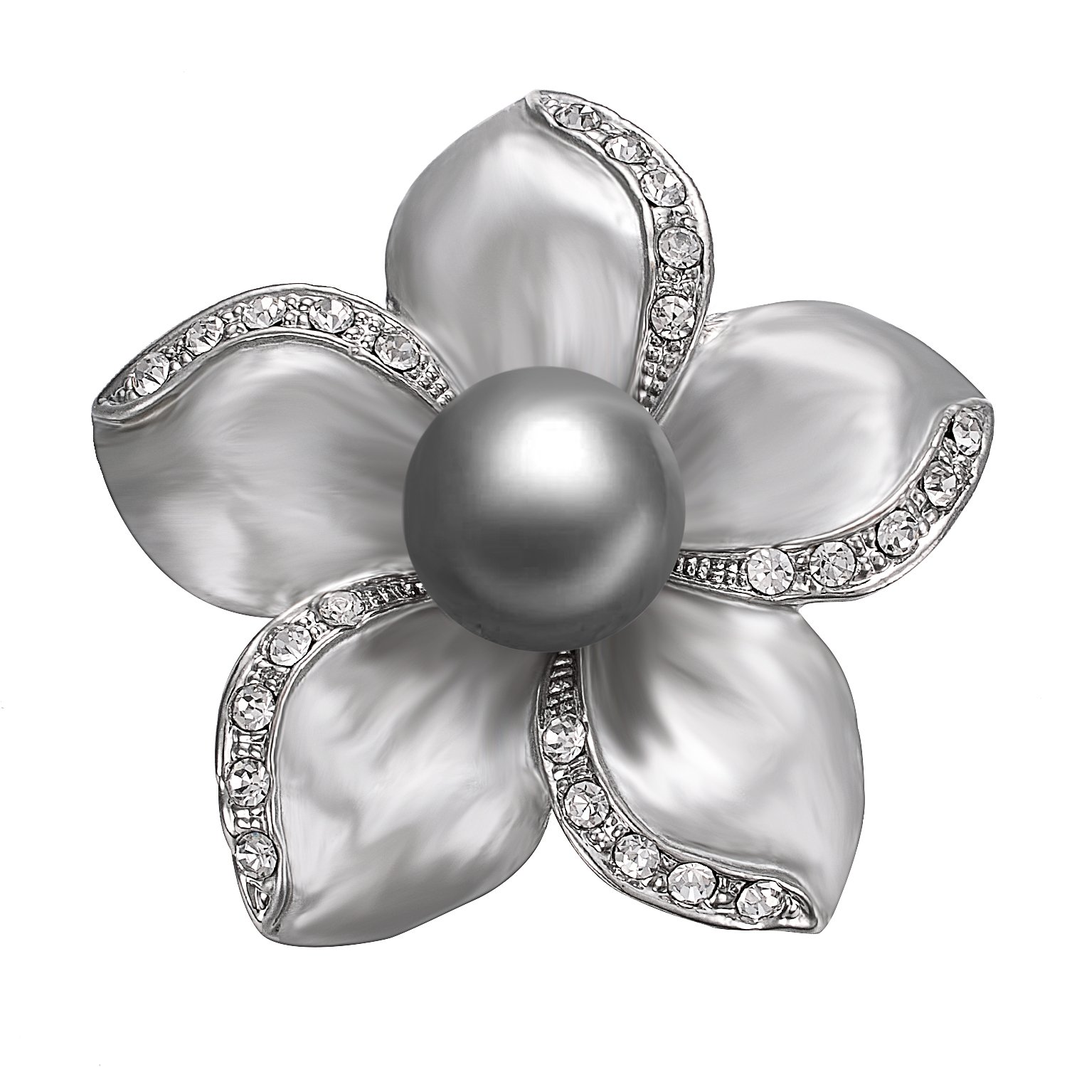 Yoursfs Grey Floral Brooch Pin Grey Painting Mabe Pearl Lacing Crystal Rhinestones Corsage Brooch Women