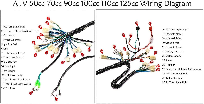 wiring diagram 125cc avt amazon com facaing full electric start engine wiring harness loom  engine wiring harness loom