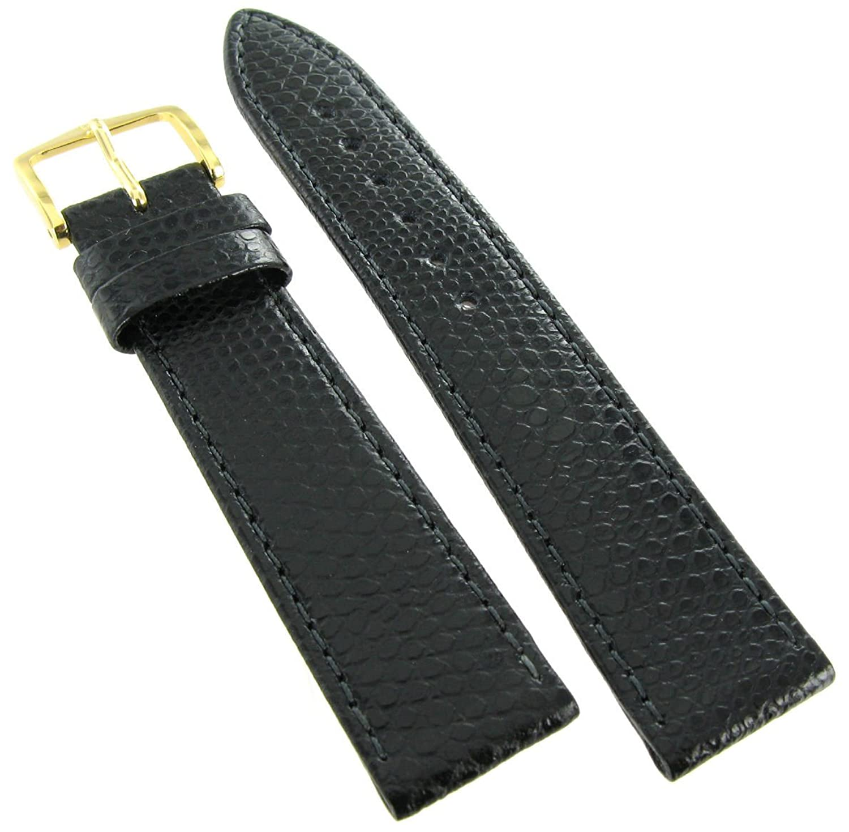 17 mm Hirschレインボーブラック本革Lizard Grainステッチ腕時計バンドReg  B01MYOGEE7
