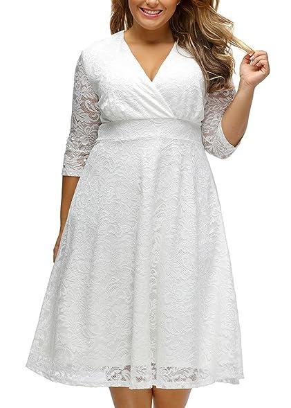 V Fashion Plus Size Lace Bridal Formal Skater Dress Elegant Wrap