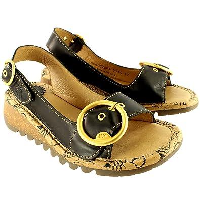 387309b114b62 FLY London Womens Tram Low Wedge Summer Vacation Buckle Open Toe Sandals -  Black - 5