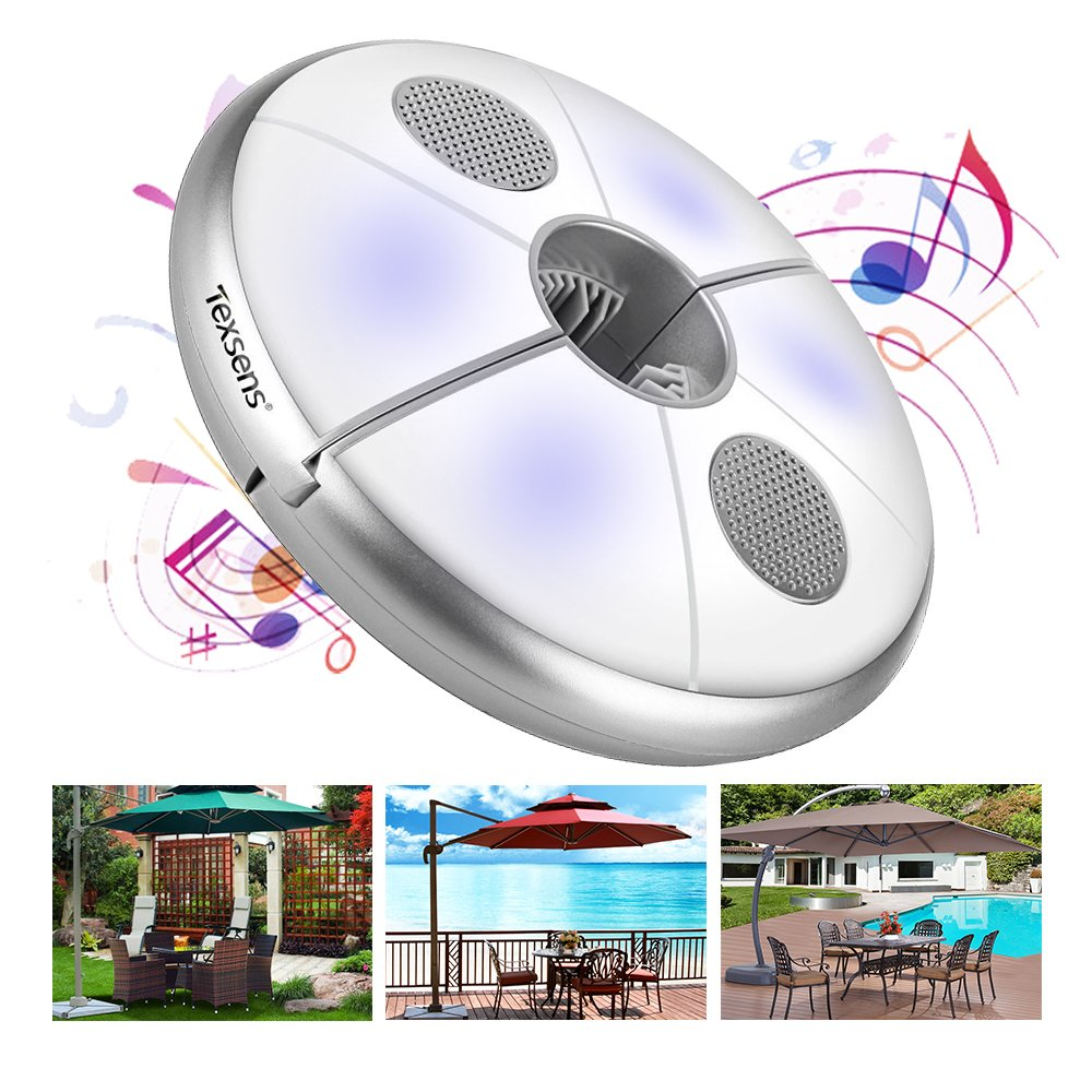 Texsens LED Patio Umbrella Light Wireless Speaker USB Rechargeable Power Bank Camping Tents Lights