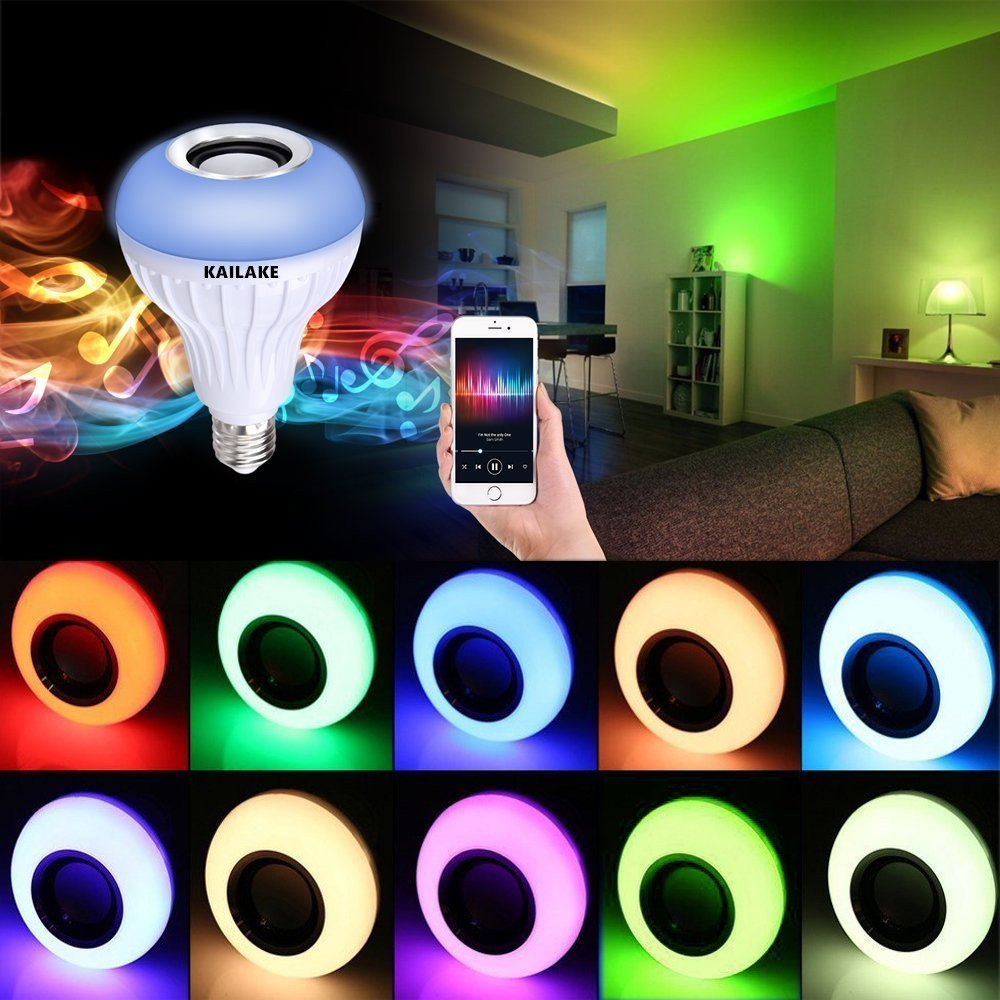 KAILAKE LED Wireless Light Bulb Speaker-RGB Sm Music 2018 New Design Instagram 5000+Likes with Stereo Audio Smart 7W E27 Changing Lam Lamp+24 Keys Remote Control by KAILAKE (Image #4)