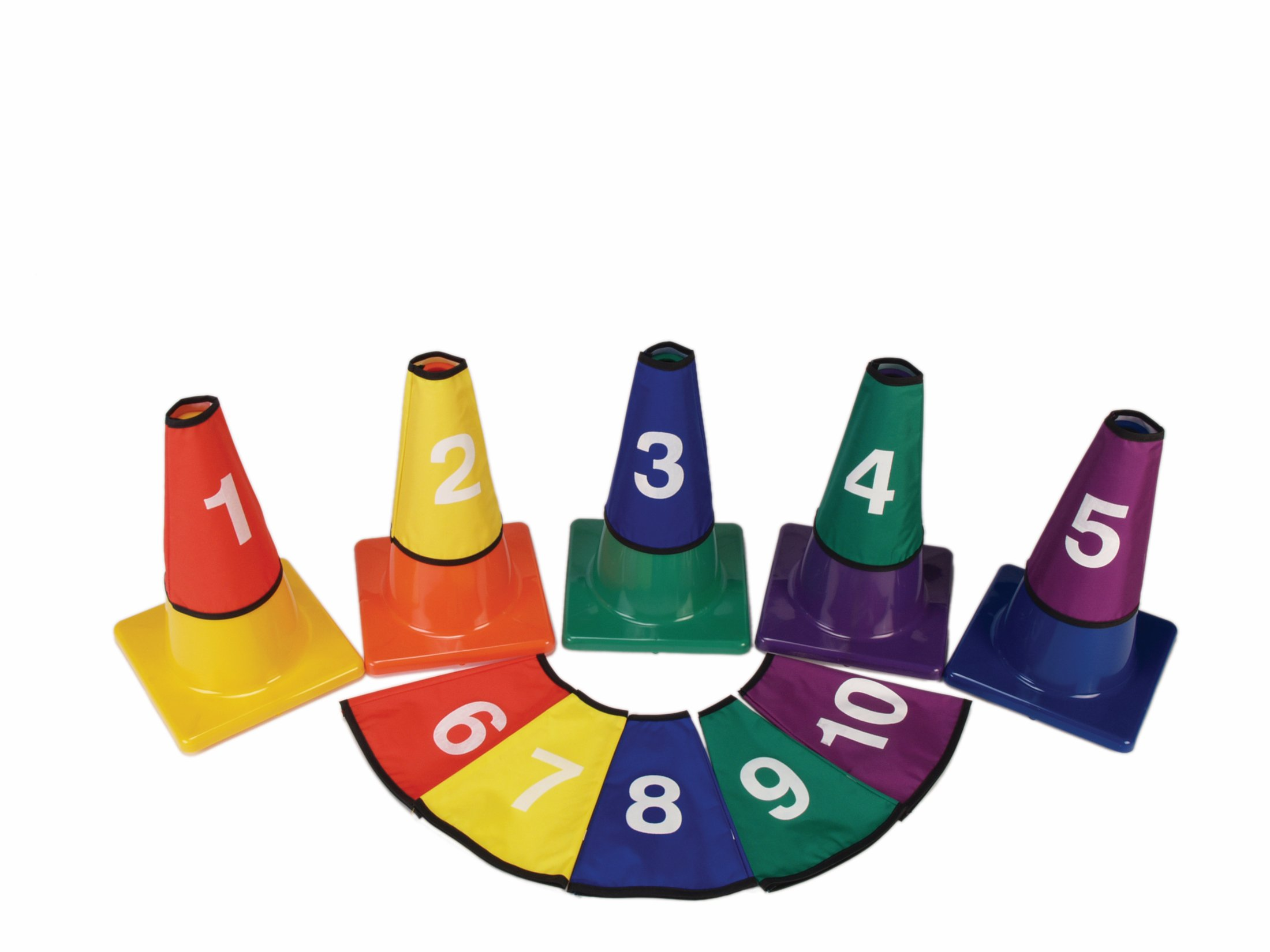 American Educational Products Numbered Cone Covers, 5 Colors, Set of 10