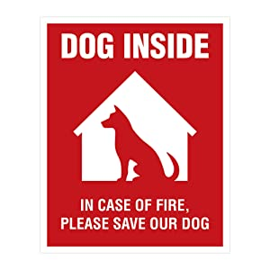 Dog Inside Sticker - 4 Pack - 4x5 inches - Dog Alert Safety Window Sign
