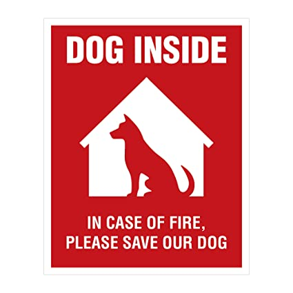 Dog inside sticker 4 pack 4x5 inches dog alert safety window sign
