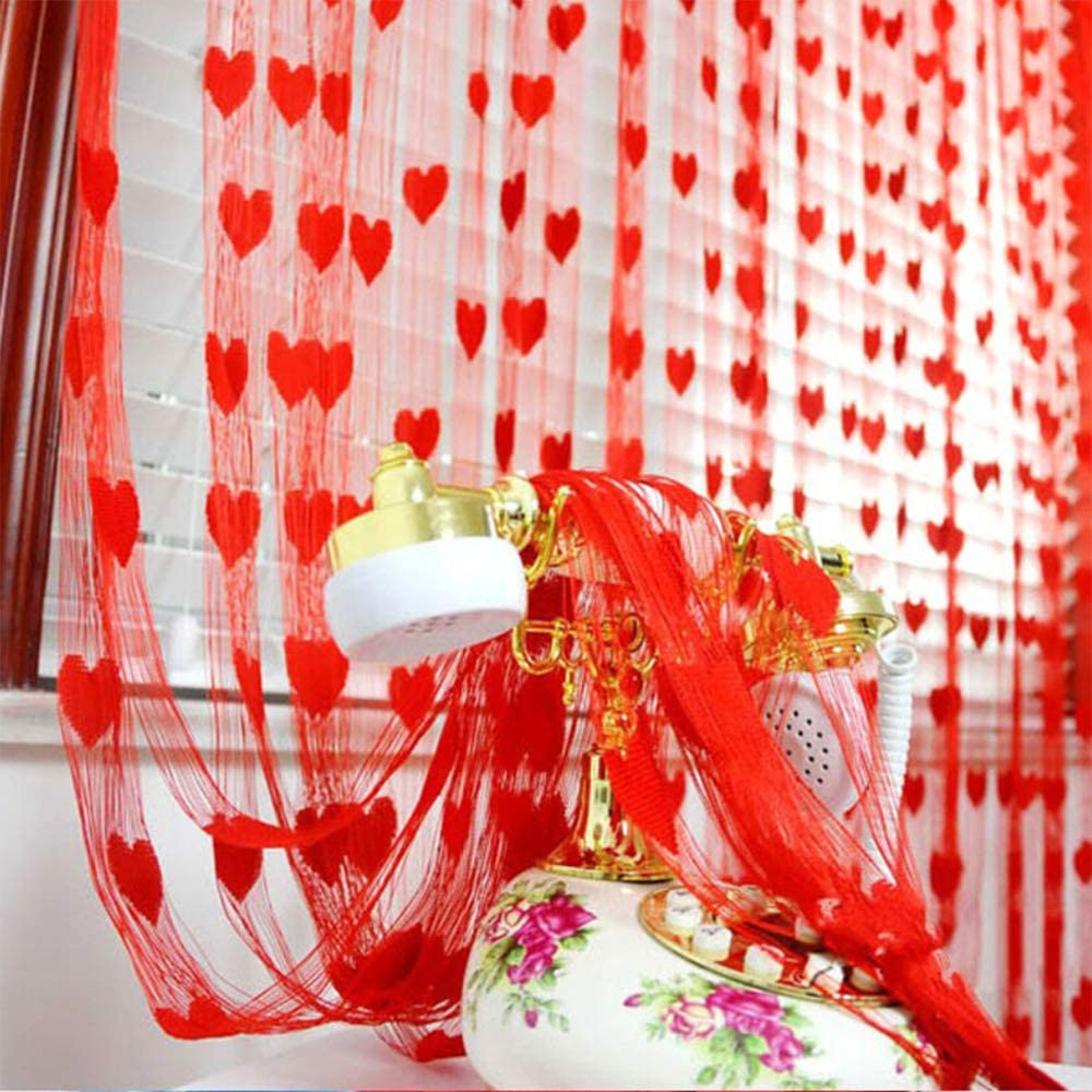 Valentines Day Window Curtains - 41x72 Inch Romantic Hearts Shaped Lace Curtains Window/Bathroom Curtains Decorations