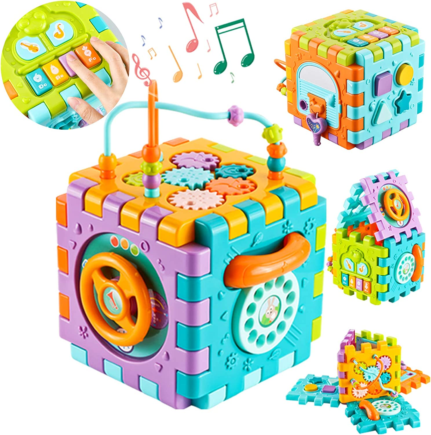 ZMZS Activity Cube Baby Toy for 6 to 12 Months, Toddler Piano Center Best First Birthday Gift for 1 Year Old Girl Boy, 6 in 1 Busy Learners Educational Bright Toy