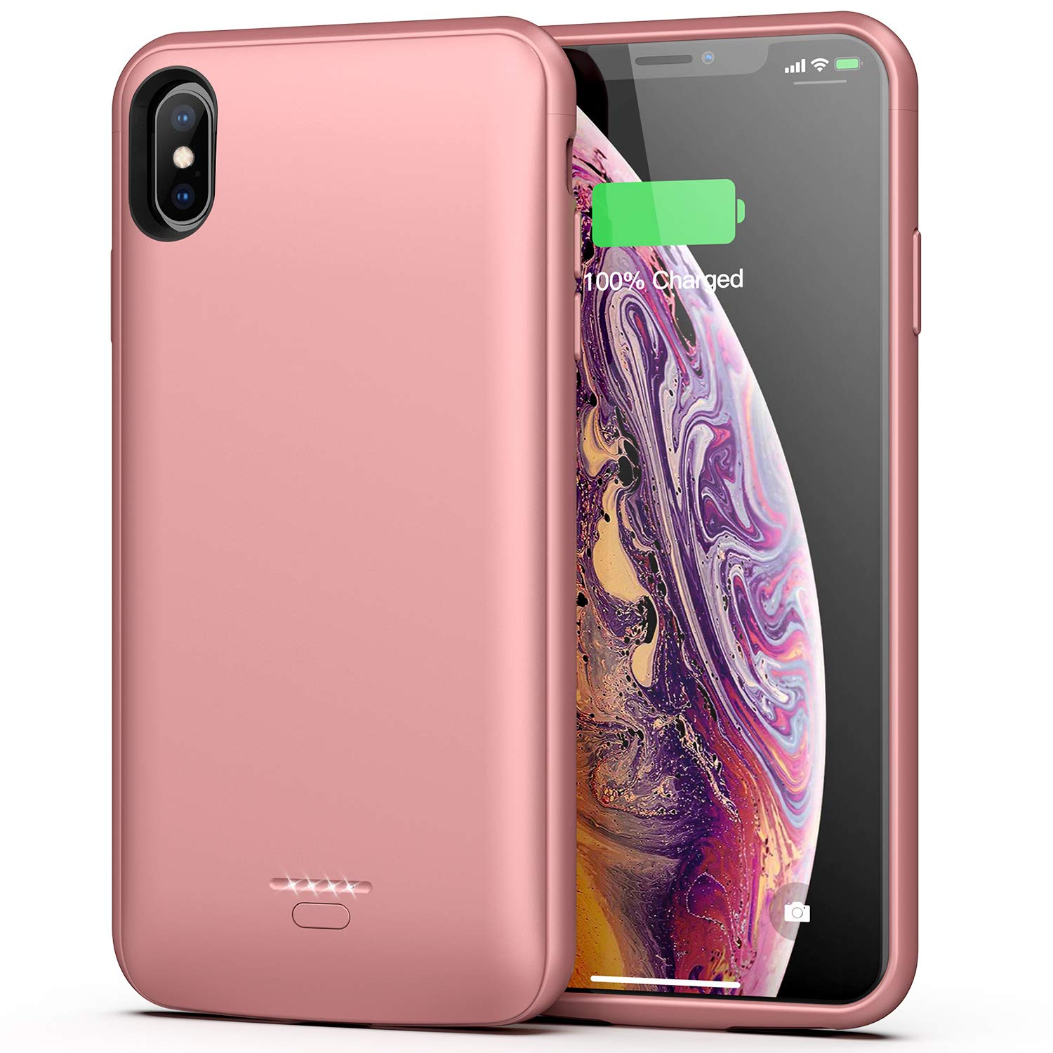 Battery Case for iPhone Xs Max, 5000mAh Portable Protective Charging Case Compatible with iPhone Xs Max (6.5 inch) Rechargeable Extended Battery Charger Case (Rose Gold)