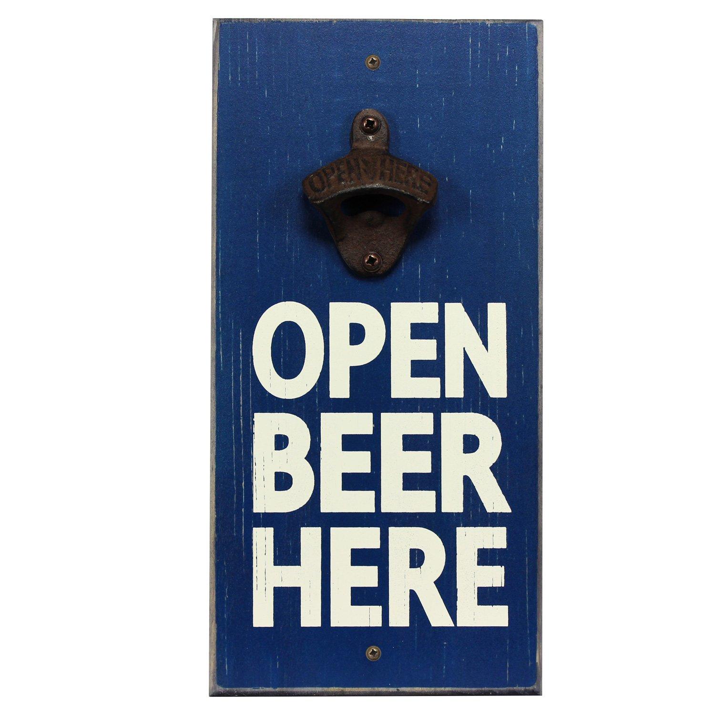 My Word! Open Beer Here - Wooden Wall Mounted Bottle Opener