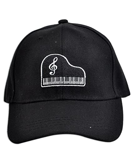 Music Note in Piano Keyboard Embroidered Baseball Cap at Amazon Mens Clothing store: