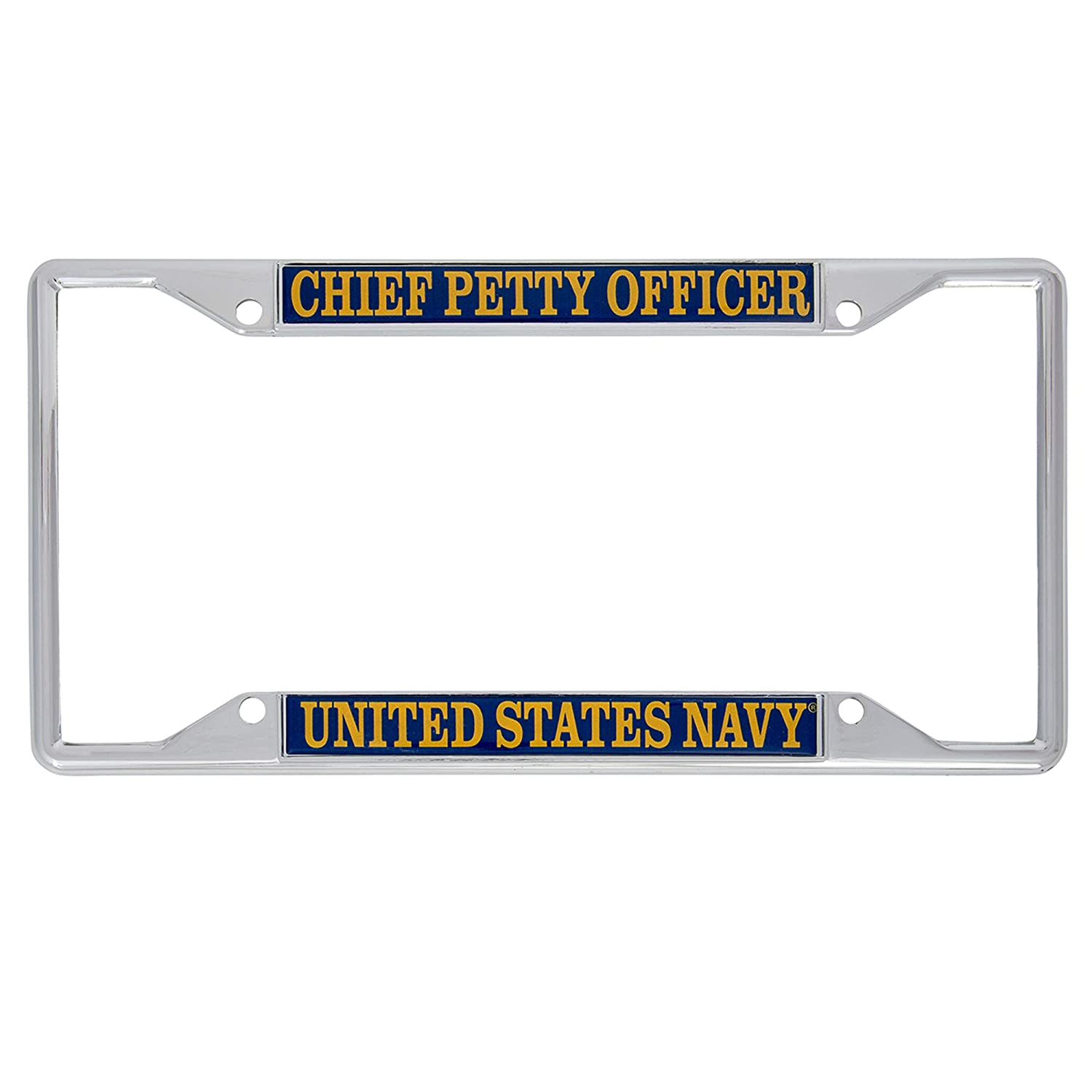 Desert Cactus US Navy Chief Petty Officer Enlisted Grades License Plate Frame for Front Back of Car Officially Licensed United States