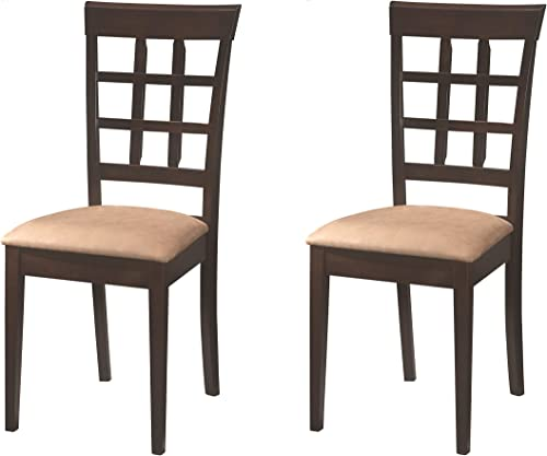 Gabriel Wheat Back Side Chairs Cappuccino and Beige Set of 2