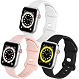 eCamframe Compatible with Apple Watch Bands 38mm 40mm 42mm 44mm, 3 Pack Soft Waterproof Silicone Sport Straps for iWatch Seri