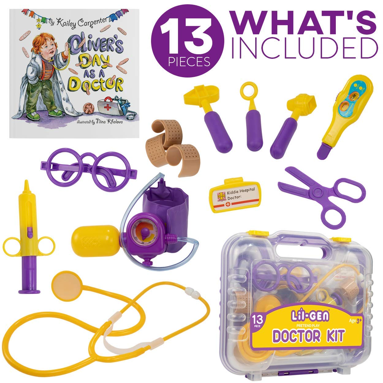 Li'l-Gen Pretend Play Doctor Kit for Kids, Pretend Play Toddler Toys 13 Pieces Kit Plus Oliver's Day as a Doctor Book by Li'l-Gen (Image #4)