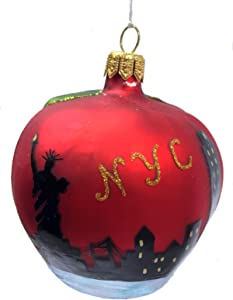 Pinnacle Peak Trading Company Apple with New York City Scene Polish Glass Christmas Ornament NYC America USA